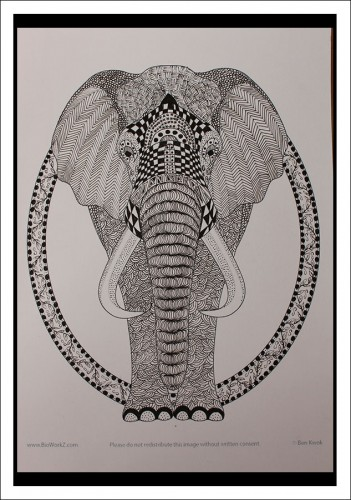 Zentangle-Elephant-zwart-wit