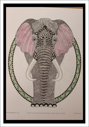 Zentangle-elephant-color