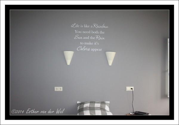 Tekst op muur in slaapkamer 1