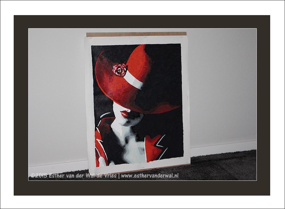 Schilderij – Vrouw met de rode hoed