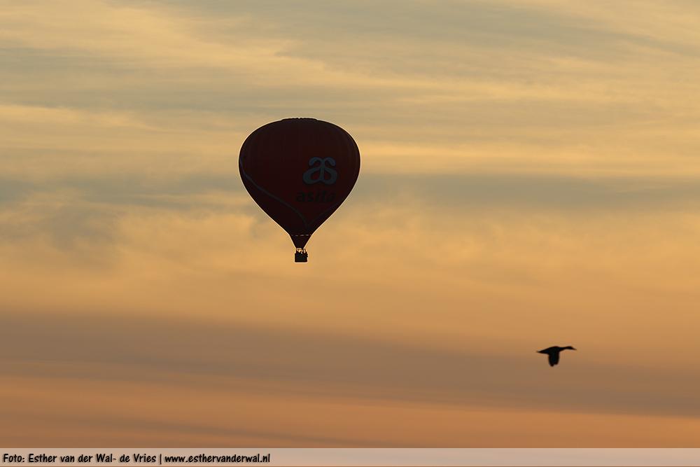 Luchtballon bij zonsondergang